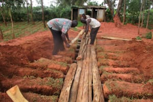 The Water Project: Digula Secondary School -  Laying The Latrine Foundation
