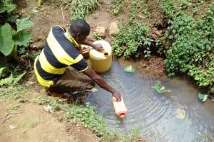 The Water Project: Irungu Community, Irungu Spring -  Fetching Water