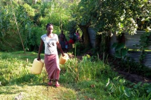 The Water Project: Shikhambi Community, Daniel Inganga Spring -  Coming To Fetch Water At The Spring
