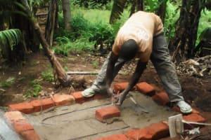 The Water Project: Lutali Community, Lukoye Spring -  Sanitation Platform Construction