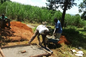 The Water Project: Shivagala Community, Paul Chengoli Spring -  Sanitation Platform Construction