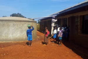The Water Project: Mwiyenga Primary School -  Final Touches To The Tank