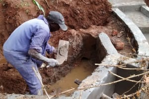 The Water Project: Ebuhando Community, Christopher Omasaba Spring -  Construction