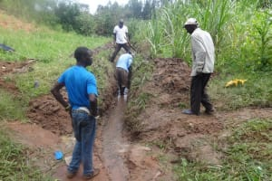 The Water Project: Shitungu Community, Makale Spring -  Construction