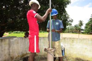 The Water Project: Gbaneh Bana SLMB Primary School -  Pump Installation