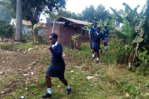The Water Project: Esibeye Secondary School -  Rush To Use Primary School Latrines