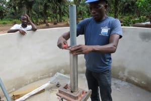 The Water Project: Ernest Bai Koroma Secondary School -  Pump Installation