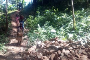 The Water Project: Elunyu Community, Saina Spring -  Construction
