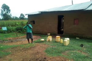 The Water Project: Shihingo Community, Mulambala Spring -  Mary By Her Water Containers