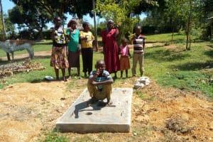 The Water Project: Mulundu Community, Fanice Mwango Spring -  Finished Sanitation Platform
