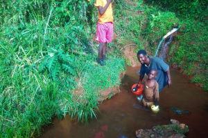 The Water Project: Shilakaya Community, Shanamwevo Spring -  Current Water Source