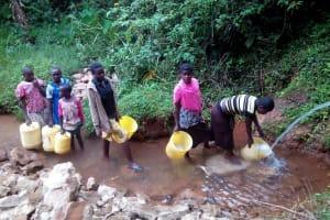 The Water Project: Shilakaya Community, Shanamwevo Spring -  Community Members Fetching Water