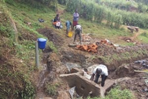 The Water Project: Kakubudu Community, Fred Lagueni Spring -  Spring Construction