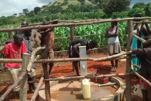 The Water Project: Maiha-Kayanja Community -  Pump Installation