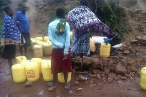The Water Project: Ulagai Community, Aduda Spring -  Fetching Water