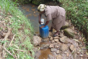 The Water Project: Shiru Community, Sammy Alumola Spring -  Fetching Water
