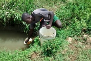 The Water Project: Ulagai Community, Rose Obare Spring -  Vincent Fetching Water