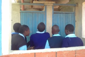 The Water Project: Kamuluguywa Secondary School -  Waiting In Line For The Latrines