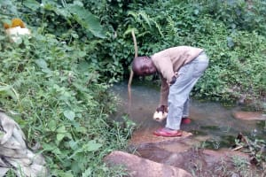 The Water Project: Samisbei Community, Isaac Rutoh Spring -  Berry Fetching Water