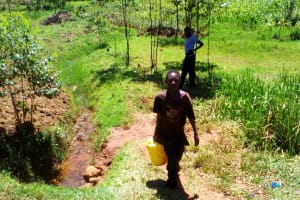 The Water Project: Lwangele Community, Machayo Spring -  Carrying Water