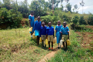 The Water Project: Eshiamboko Primary School -  Students Walking To The Spring