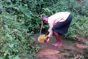 The Water Project: Samisbei Community, Isaac Rutoh Spring -  Fetching Water