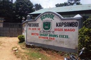 The Water Project: Precious School Kapsambo Secondary -  School Sign