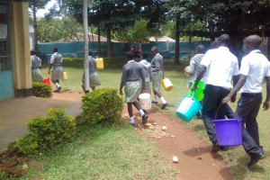 The Water Project: Precious School Kapsambo Secondary -  Students Carry Water Buckets
