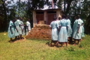 The Water Project: Eshisenye Primary School -  Girls Congested At The Latrine During Break