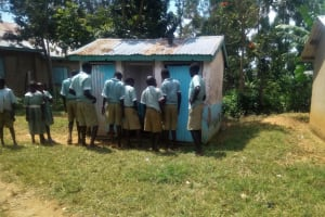 The Water Project: Eshisenye Primary School -  Students In Front Of Latrine