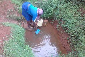 The Water Project: Musutsu Community, Mwashi Spring -  Drawing Water At The Spring