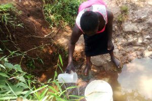 The Water Project: Mungaha B Community, Maria Spring -  Collecting Water From Spring