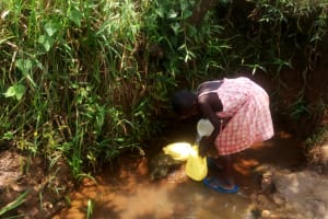 The Water Project: Mungaha B Community, Maria Spring -  Filling Smaller Jerrycans