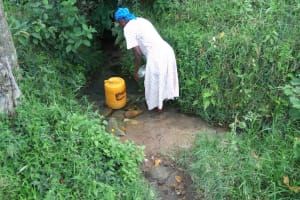 The Water Project: Muyundi Community, Ngalame Spring -  Filling Jerrycan With Spring Water