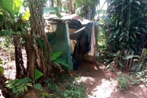 The Water Project: Isembe Community, Amwayi Spring -  Sample Bathroom Made Of Nylon Papers In A Banana Plantation