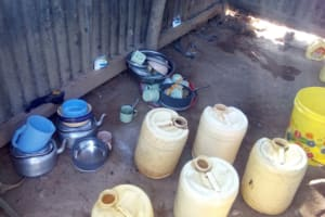 The Water Project: Isembe Community, Amwayi Spring -  Water Containers For Storing Water In A Households Kitchen