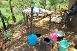The Water Project: Emaka Community, Ateka Spring -  A Dishrack And Water Containers At The Households Kitchen