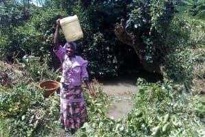 The Water Project: Lunyi Community, Fedha Mukhwana Spring -  Carrying Water
