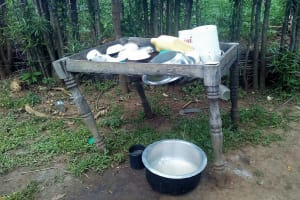 The Water Project: Lunyi Community, Fedha Mukhwana Spring -  Dish Drying Rack