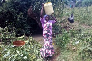 The Water Project: Lunyi Community, Fedha Mukhwana Spring -  Lifting Up Jerrycan Of Water