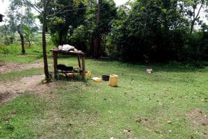 The Water Project: Ematetie Community, Chibusia Spring -  An Improvised Dishrack