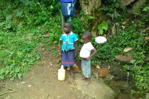 The Water Project: Shitoto Community, Mashirobe Spring -  Children At Spring