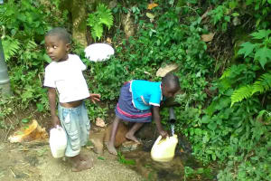 The Water Project: Shitoto Community, Mashirobe Spring -  Children Fetching Water At The Spring