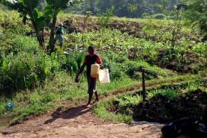 The Water Project: Irumbi Community, Shatsala Spring -  A Community Member Heading To The Spring