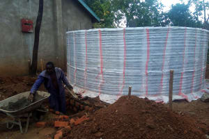 The Water Project: Shanjero Secondary School -  Tank Wall And Catchment Area