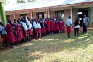The Water Project: Namalasire Primary School -  Measuring Out Space For The Tank