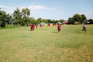 The Water Project: Namalasire Primary School -  Rush To Use The Latrines