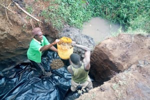The Water Project: Esembe Community, Chera Spring -  Working On The Foundation