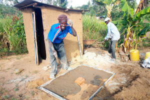 The Water Project: Esembe Community, Chera Spring -  Sanitation Platform Construction