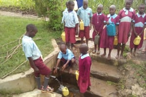 The Water Project: Namalasire Primary School -  Fetching Water At The Spring
